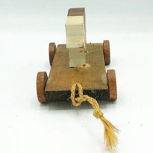 Accents - Primitive Wooden Pig Pull Cart